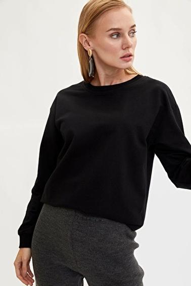 DeFacto Yarım Düşük Omuz Sweatshirt Siyah